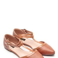 Camel Pointed Toe T Strap Kylie Flats