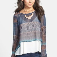 Lush Scoop Back Print Woven Tee (Juniors)