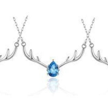 Sterling silver antlers necklace Christmas gift clavicle chain