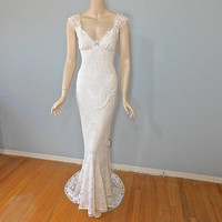Vintage Inspired Boho Wedding Gown Mermaid Lace Wedding Dress BEACH Wedding Dress Sz Small