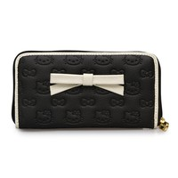 Hello Kitty Black/Cream Embossed Wallet With 3D Bow - Wallets