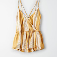AE Criss Cross Wrap Cami, Yellow