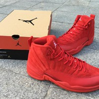 Air Jordan Retro 12 Red Suede Basketball Shoes Men Women 12s Red Suede Sneakers High Quality With Shoes Box