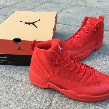 Air Jordan 12 Red Suede Basketball Shoes Men Women 12S XII High Quality Athletic Ourdoor Sports Trainers Sneakers Size36-47 With Box