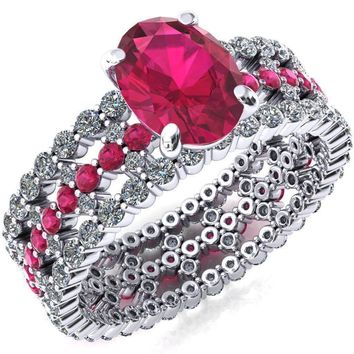 Lacy Oval Lab-Created Ruby Full Eternity Ruby  and Diamond Accent Ring