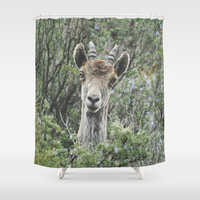 """Hello"". Ibex. Retro wildlife. Shower Curtain by Guido Montañés"