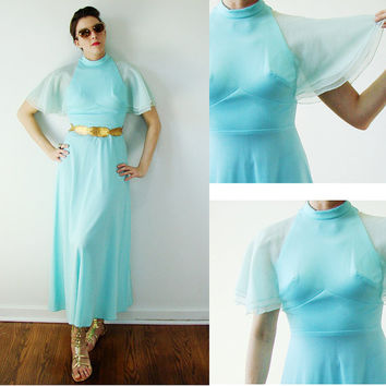 Vintage 1960s FLUTTER Fitted AQUA Maxi Dress Grecian Athena SMALL