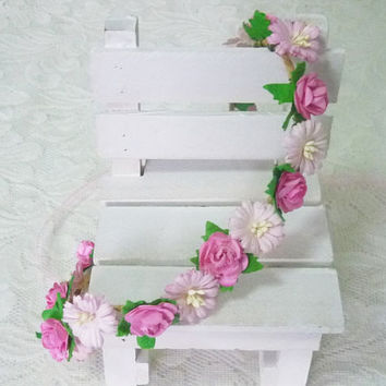 Pink tone flower crown  small gerbera rose headband /Pink flower headpiece /floral headpiece/ flower crown ribbon tie back