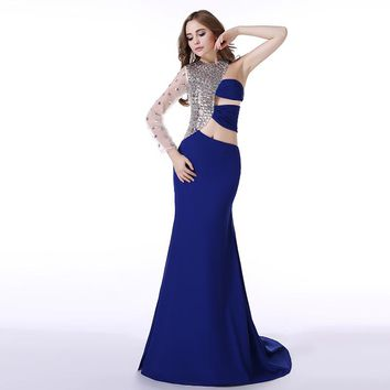 Real Picture Royal Blue Prom Dress New Style One Shoulder Sleeve Crystal Long Formal Party Gown Plus Size On Sale