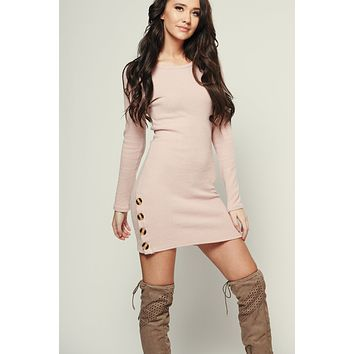 Desired Ribbed Dress (Dusty Mauve)