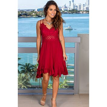 Burgundy Lace Short Dress with Ruffles