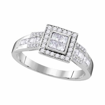 10kt White Gold Womens Princess Diamond Square Cluster Bridal Wedding Engagement Ring 1/2 Cttw