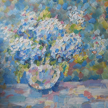 "Flowers painting ""Blue hydrangea"", Oil Painting, Impasto, Canvas, Decor, Hydrangea in a Vase, Bouquet of Flowers, Still Life Flowers, Gift"