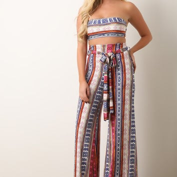Bohemian Print Bardot Top With Palazzo Pants | UrbanOG