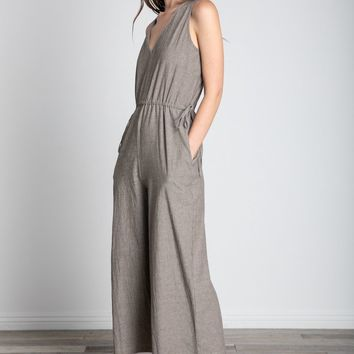 Side Tie Cotton Jumpsuit