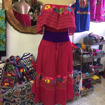 Mexican Campesina Dress Hot Pink