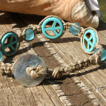 Macrame Peace  and Recycled Glass Beads Bracelet