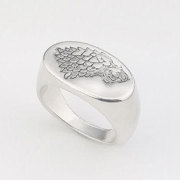 RJ Hot Game of Thrones Rings Ice And Fire Of Song Silver Engraved Wolf Family Logo Finger Ring Rune For Men Women Amulet Jewelry