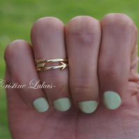 Arrow By-Pass Ring- Midi Ring - Double Wrap -Sterling Silver with Gold Overly