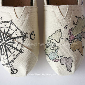 Youth - Travel Compass and Colored World Map - Custom Painted TOMS Shoes