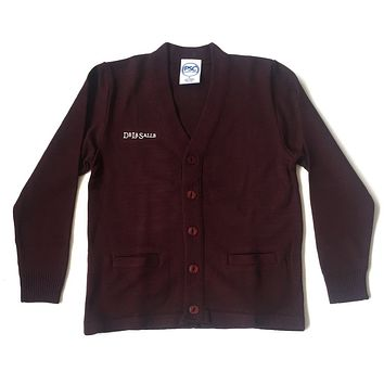 DeLaSalle Burgundy Cardigan Sweater