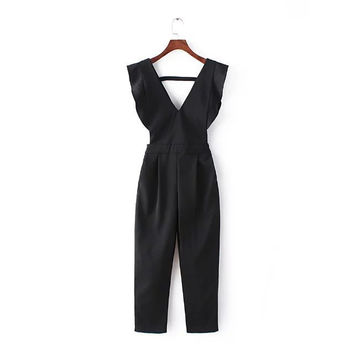 Summer Women's Fashion Stylish Korean Slim V-neck High Rise Romper Jumpsuit [4919983812]