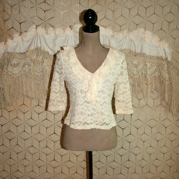 Lace Top Cream Ivory Petite Small Boho Romantic Blouse Ruffle Top Dressy Top Vintage Clothing Vintage Tops Lace Blouse Womens Clothing