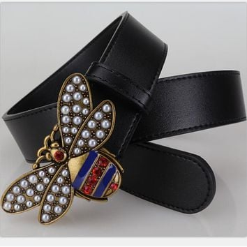 GUCCI pearl Bee Woman Fashion Smooth Buckle Belt Leather Belt