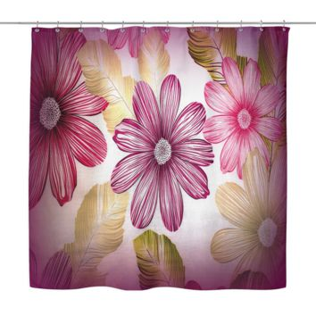 Textured Flowers Shower Curtain