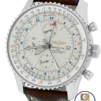 Breitling Navitimer World GMT Stainless 46mm Cream A24322 Chronograph Watch