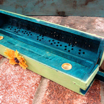 Green Painted Incense Burner, Box, Coffin with Sunflower, Cottage Chic Incense Cone Holder, Country Cottage Wooden Box, Incense Storage Box