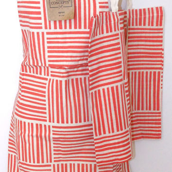 Red White Apron & Carry Bag Tote Set 2 Home Concepts Casa Printed 100% Cotton