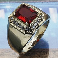Gold Layered Men Mens Ring, with Garnet Cubic Zirconia, by Folks Jewelry
