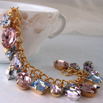 Winter's Eve charm bracelet vintage vitrail light by shadowjewels