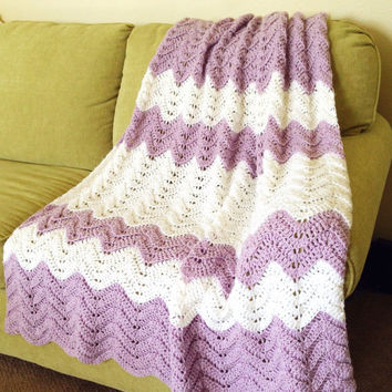 Crochet Striped, Rippled Afghan/Throw/Blanket, Adult Size Fluffy, Soft Bedding, Twin, Double, Queen, King