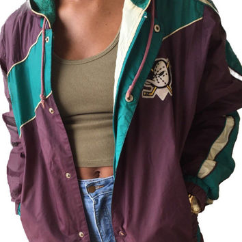 RARE Vintage Might Ducks Windbreaker Jacket