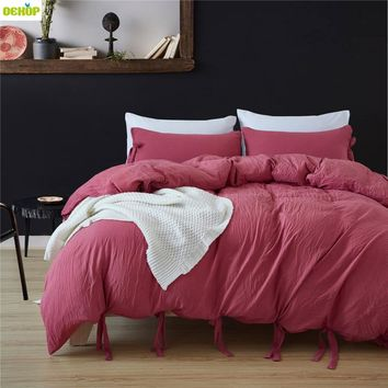 DEKOP 5 Colors Bedding Set Queen King Single Size Duvet Cover Set Comforter Bedding Sets Satin Bedclothes Luxury Home Textile