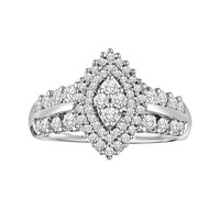 Love Always Round-Cut Diamond Engagement Ring in Platinum Over Silver (1 ct. T.W.) (White)