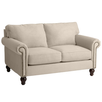 Alton Ecru Rolled Arm Loveseat