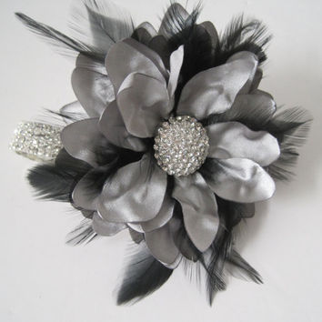 Silver Grey Rhinestone Wrist Corsage Black Feathers Bridesmaid Mother of the Bride Prom with Rhinestone Accent. Custom Made