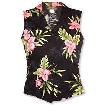 midnight hawaiian sleeveless blouse