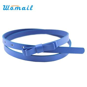 Cinturon mujer Womail The most New Fashion Dow Candy Thin Women Pu Leather Casual Belt Cummerbund For Girl Cinto  Harness  2017