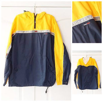 Vintage 90s Tommy Hilfiger Pullover Jacket Windbreaker M medium Half zip