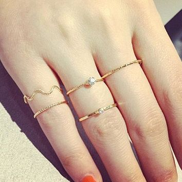 Gold and Crystal 5-Piece Skinny Ring Set