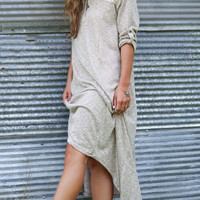 Gray V-neck Lace Roll Sleeve Knitted Maxi Dress