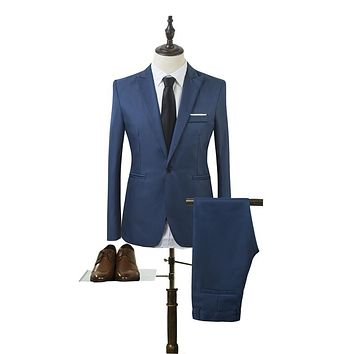2017 New Designs Coat and Pant Suit Men Solid Color Wedding Tuxedos For Men Slim Fit Mens Suits Korean Fashion (Jackets+Pants)