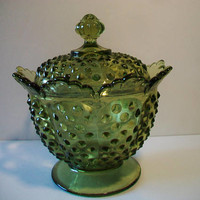 Fenton Green Glass Covered Candy Dish Hobnail Vintage Collectible Christmas St. Patrick's Day