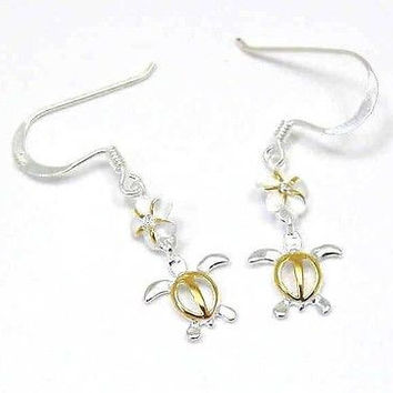 YELLOW GOLD PLATED SILVER 925 HAWAIIAN PLUMERIA DANGLE TURTLE WIRE HOOK EARRINGS