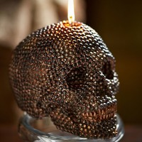 BEADED SKULL CANDLE