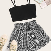 Solid Crop Cami Top & Self Tie Gingham Shorts